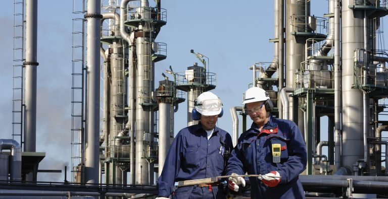 Workers at a petrochemical plant